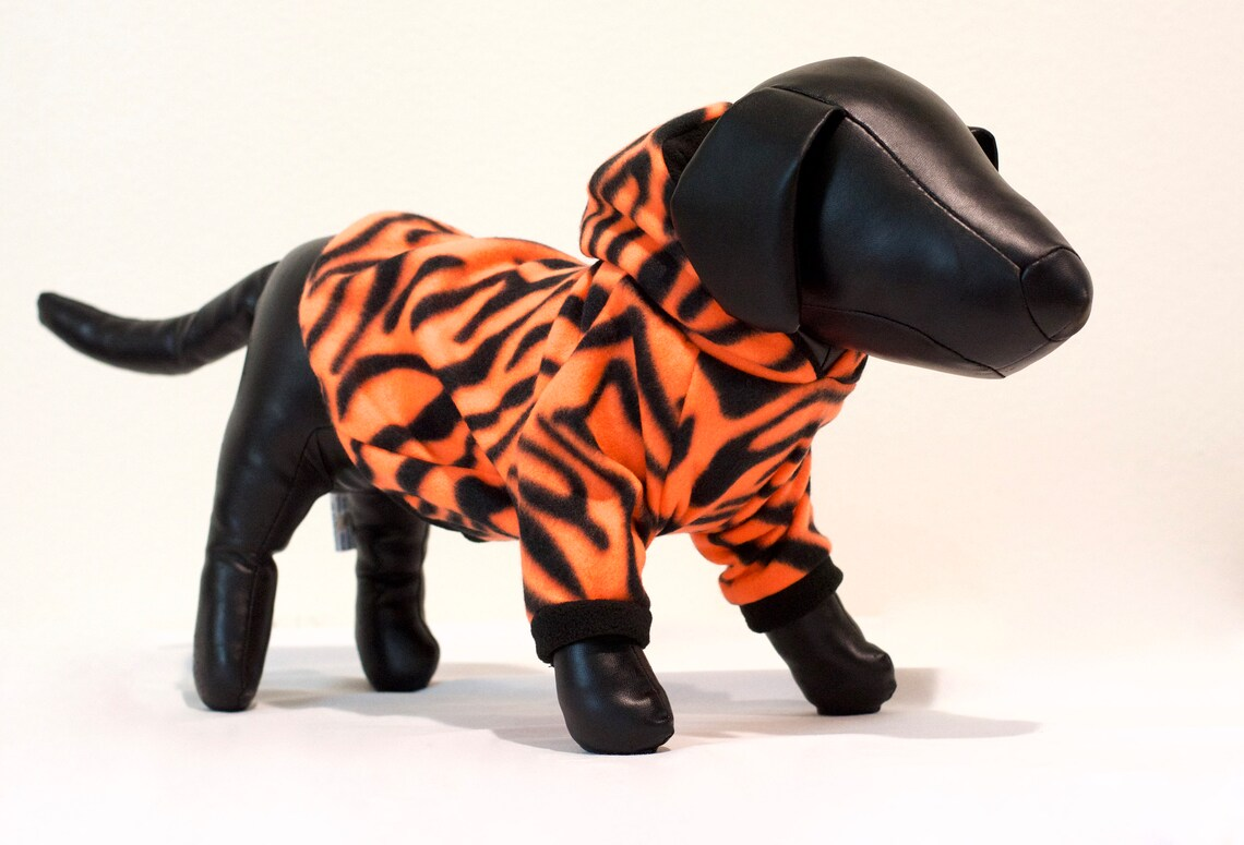 orange and black tiger print hoodie for dogs