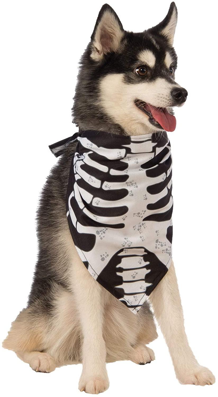 dog wearing a skeleton bandana for halloween