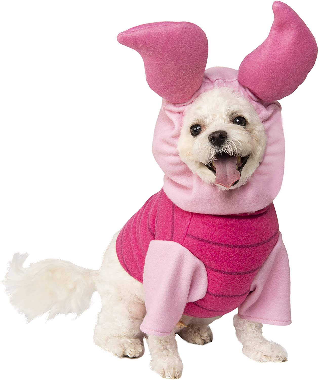 small white dog wearing a pig dog costume
