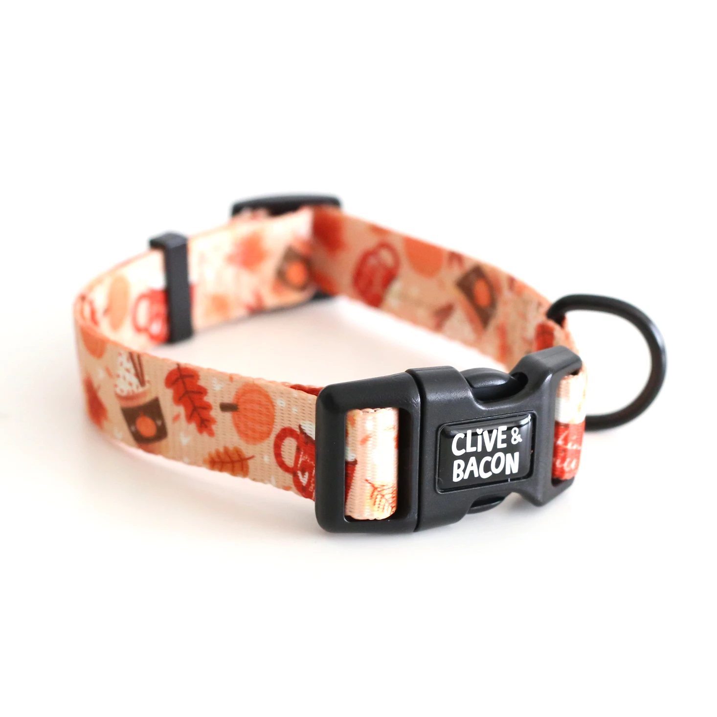 dog collar with pumpkins, coffee, and leaves on it